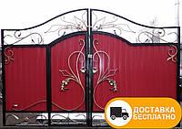Ворота с встроенной калиткой из профнастилом, код: Р-0123