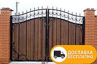 Ворота с коваными элементами и профнастилом, код: Р-0128