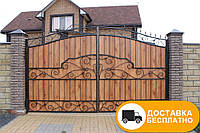Ворота с коваными элементами и профнастилом, код: Р-0129