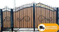 Ворота с коваными элементами и профнастилом, код: Р-0130
