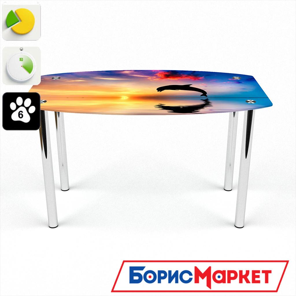 Обеденный стол стеклянный (фотопечать) Бочка Ocean от БЦ-Стол 910х610 *Эко