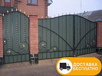 Ворота с коваными элементами и профнастилом, код: Р-0131