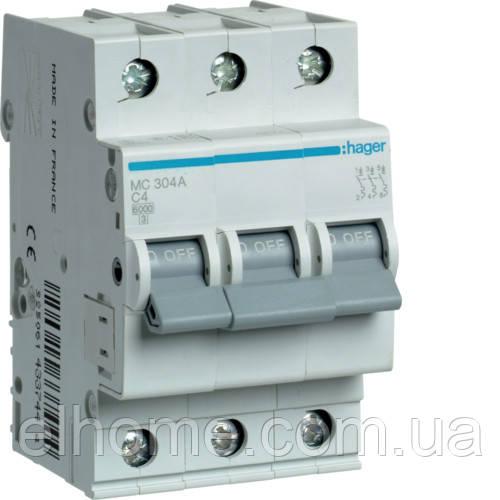 Автоматичний вимикач 3P 6kA C-4A 3M