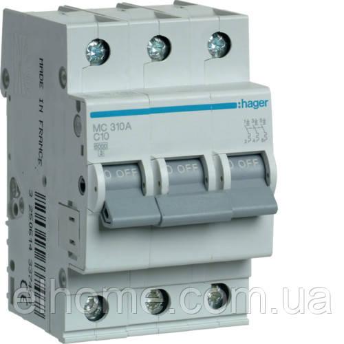 Автоматичний вимикач 3P 6kA C-10A 3M