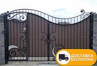 Ворота с коваными элементами и профнастилом, код: Р-0132