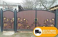 Ворота с коваными элементами и профнастилом, код: Р-0133
