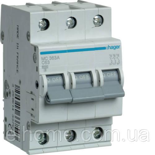 Автоматичний вимикач 3P 6kA C-63A 3M