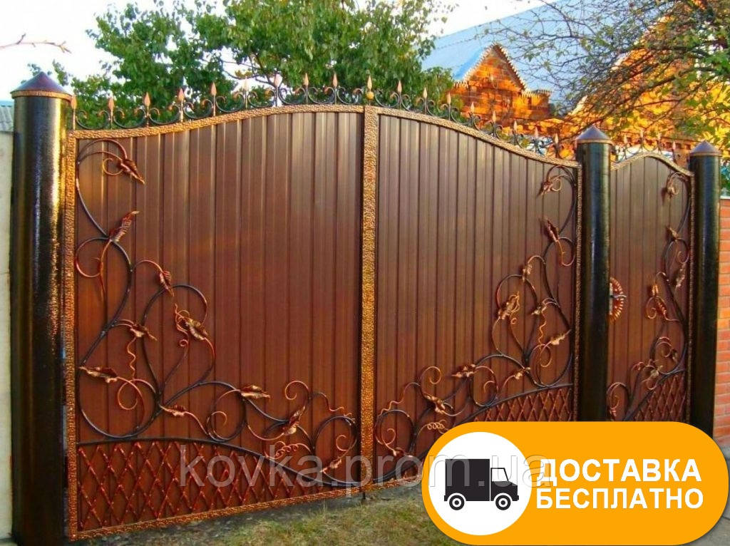 Ворота с коваными элементами и профнастилом, код: Р-0136