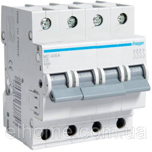 Автоматичний вимикач 4P 6kA C-1A 4M