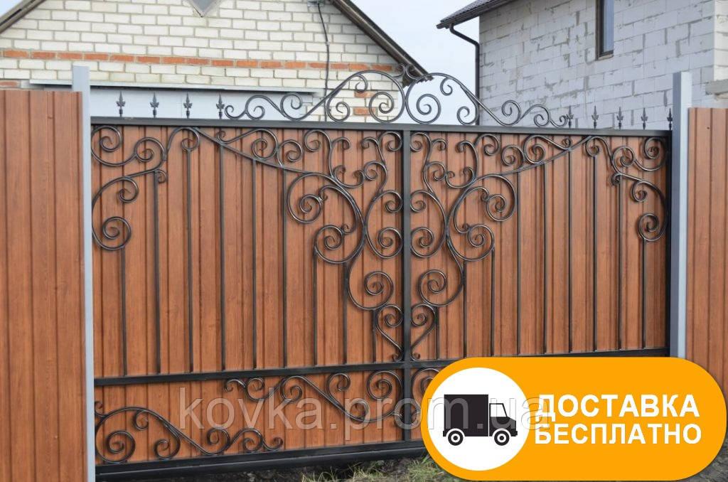 Ворота с коваными элементами и профнастилом, код: Р-0137