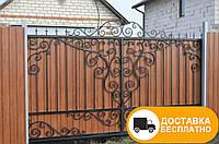 Ворота с коваными элементами и профнастилом, код: Р-0137, фото 1