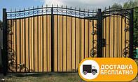 Ворота с коваными элементами и профнастилом, код: Р-0138