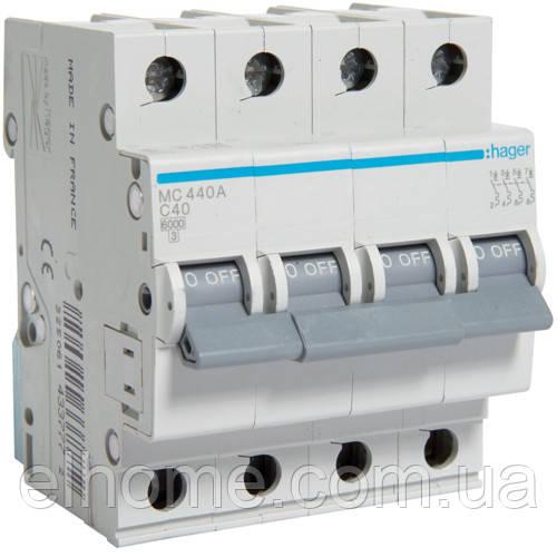 Автоматичний вимикач 4P 6kA C-40A 4M