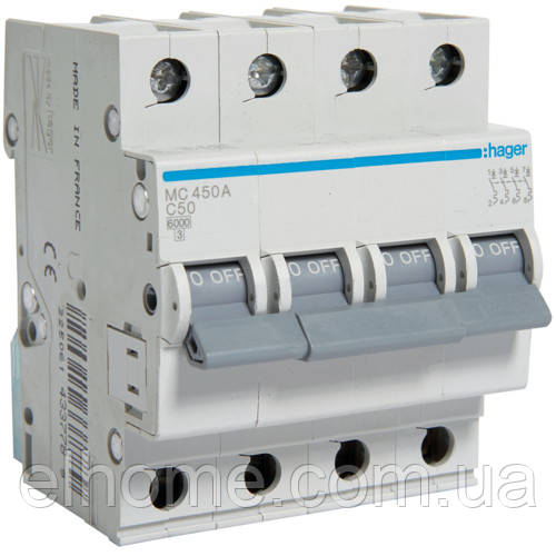 Автоматичний вимикач 4P 6kA C-50A 4M