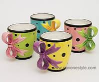 """Фарфоровый набор из 4 чайных чашек """"Бантик"""" (Pavone)"""