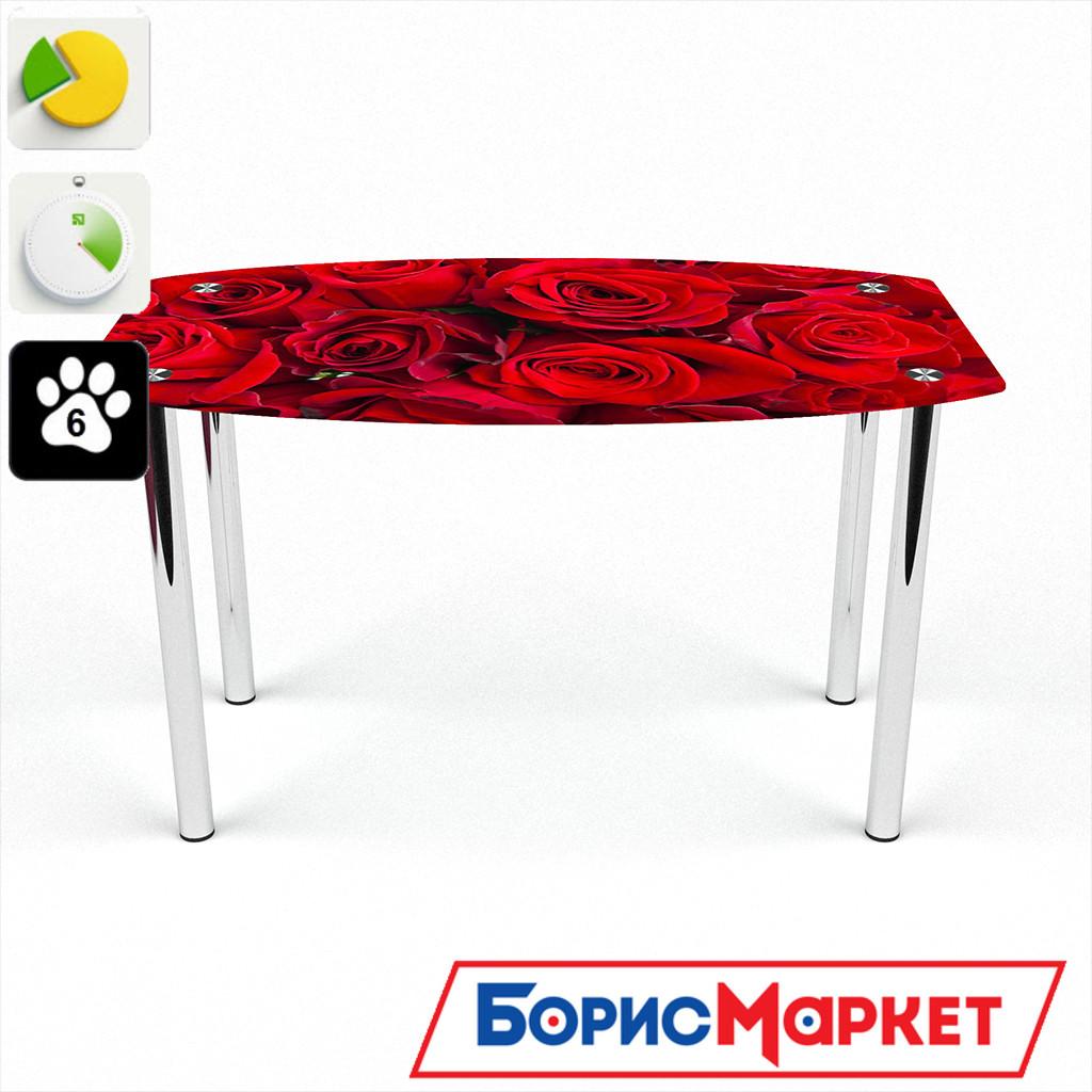 Обеденный стол стеклянный (фотопечать) Бочка Rose от БЦ-Стол