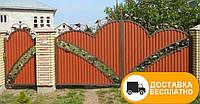 Ворота с коваными элементами и профнастилом, код: Р-0140