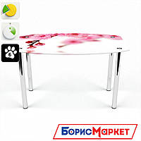 Обеденный стол стеклянный (фотопечать) Бочка Sakura от БЦ-Стол 910х610 *Эко