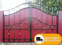 Ворота с коваными элементами и профнастилом, код: Р-0141