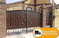 Ворота с коваными элементами и профнастилом, код: Р-0147