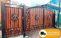 Ворота с коваными элементами и профнастилом, код: Р-0155