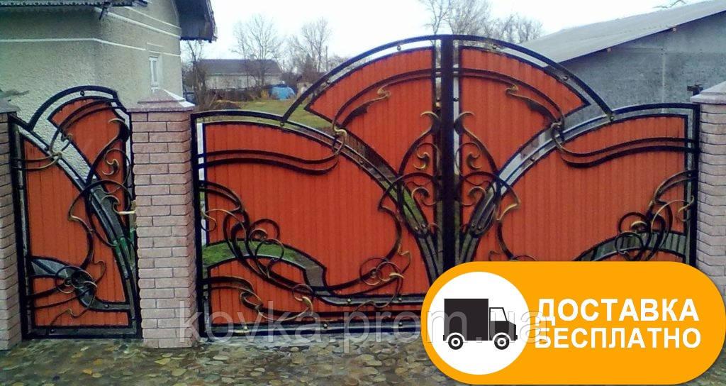 Кованые ворота из профнастилом, код: Р-0175