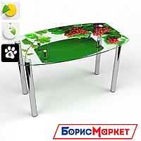 Обеденный стол стеклянный (фотопечать) Бочка с полкой Bacche rosse от БЦ-Стол 910х610 *Эко