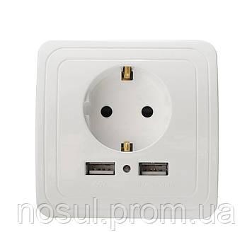 Розетка 220В с 2 USB разъемами для зарядки, с заземлением