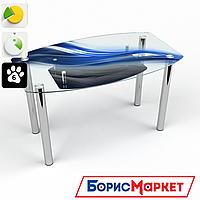 Обеденный стол стеклянный (фотопечать) Бочка с полкой Astratto от БЦ-Стол 910х610 *Эко