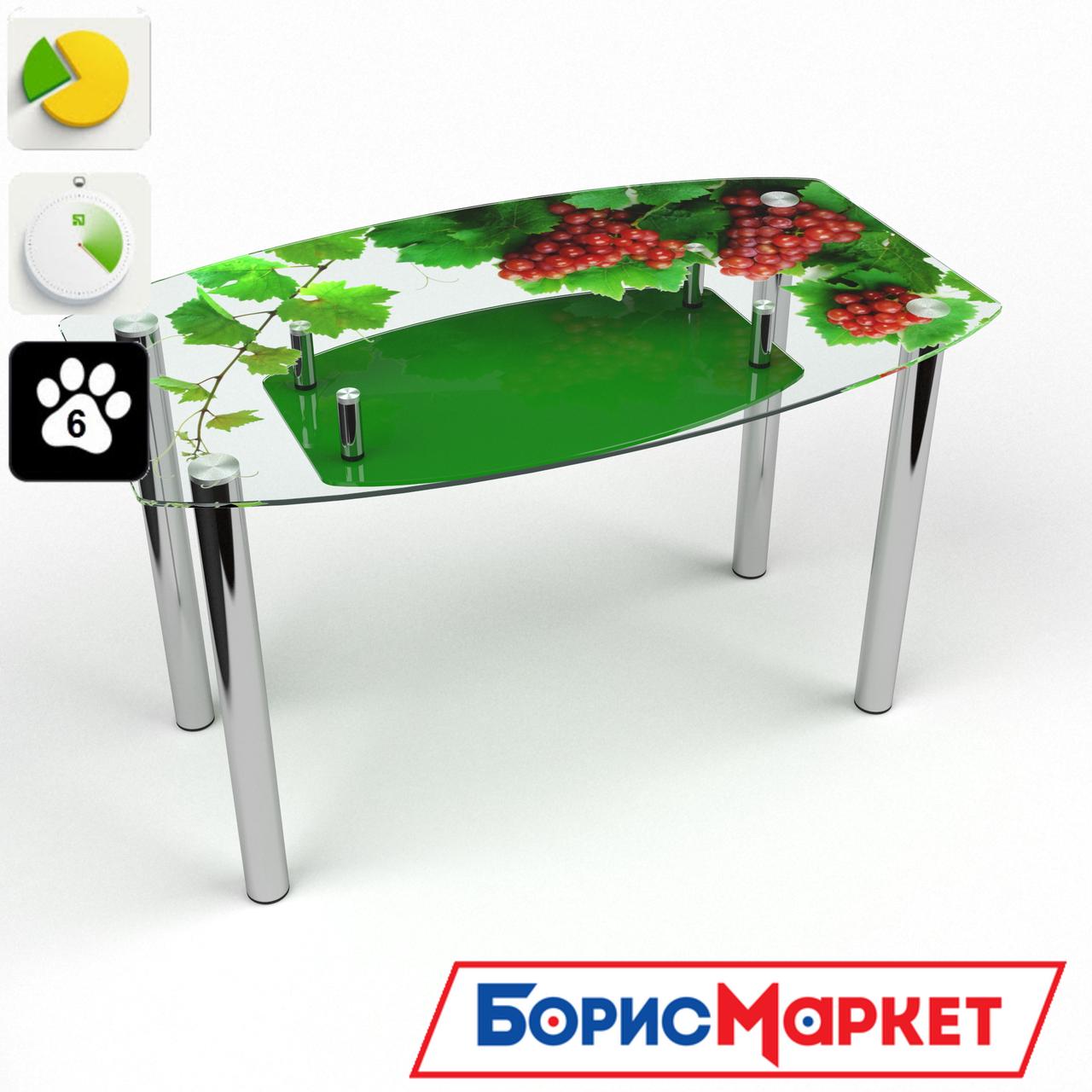 Обеденный стол стеклянный (фотопечать) Бочка с полкой Bacche rosse от БЦ-Стол