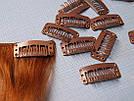 Клипса/заколка для накладных волос 32 мм, коричневая светлая , фото 5