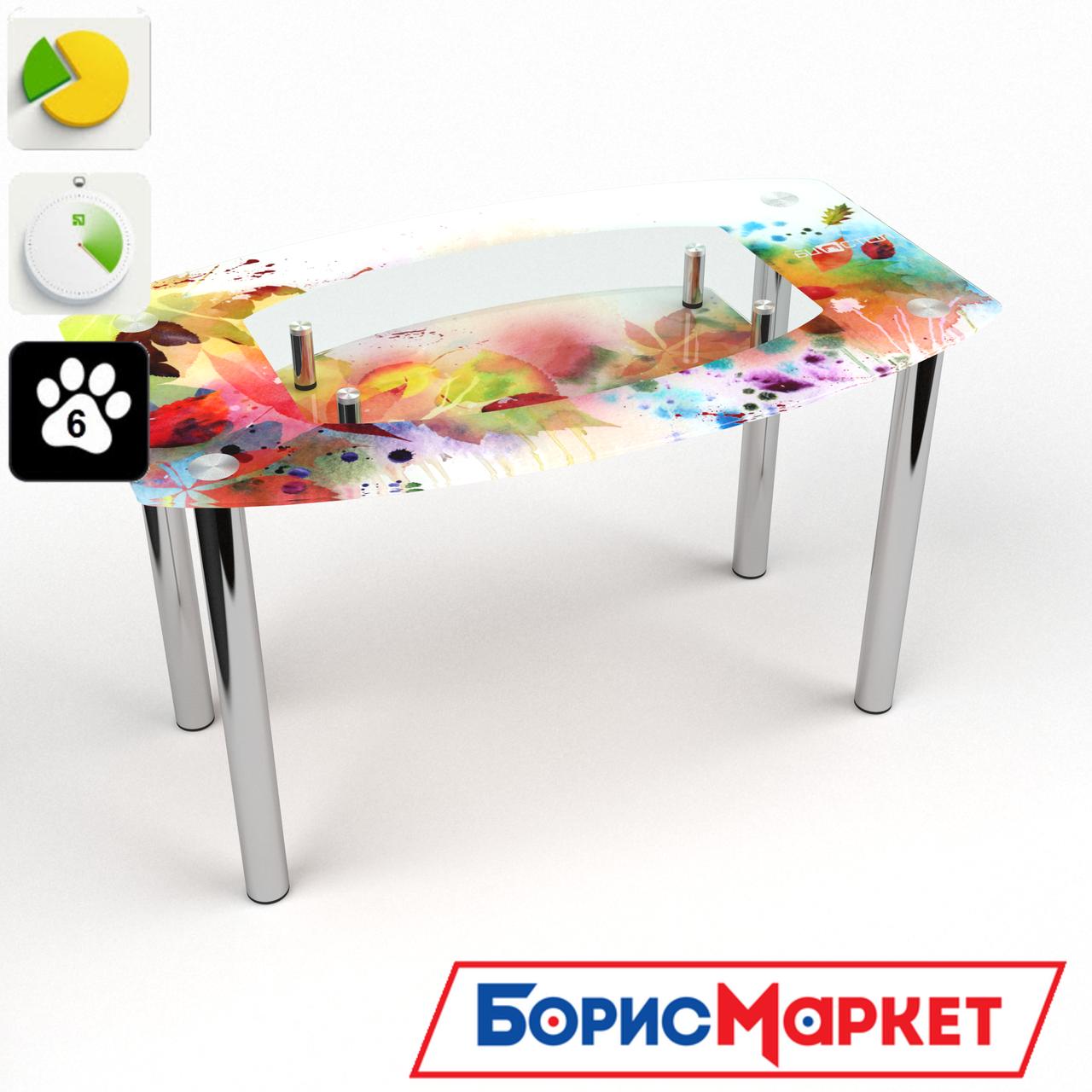 Обеденный стол стеклянный (фотопечать) Бочка с полкой  Dei colori от БЦ-Стол 910х610 *Эко