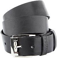 Мужской ремень SHVIGEL 10084 кожаный черный, Черный