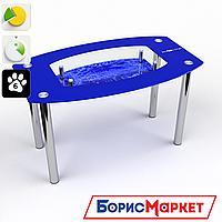 Обеденный стол стеклянный (фотопечать) Бочка с полкой Inverno от БЦ-Стол 910х610 *Эко