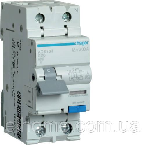 Диференційний автоматичний вимикач 1P+N 6kA C-20A 30mA A