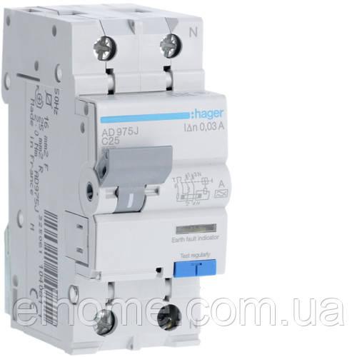 Диференційний автоматичний вимикач 1P+N 6kA C-25A 30mA A