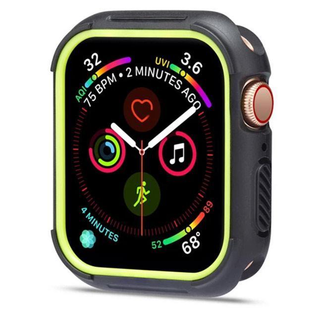 Силиконовый защитный корпус Primo для Apple Watch 44 mm - Black / Green
