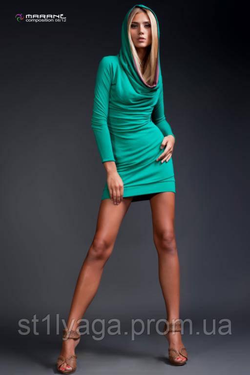 Платье - туника  с капюшоном трикотажное изумруд