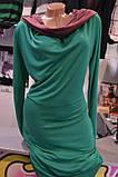 Платье - туника  с капюшоном трикотажное изумруд, фото 3