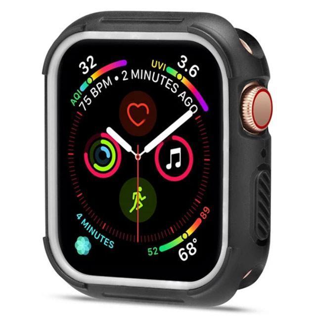 Силиконовый защитный корпус Primo для Apple Watch 44 mm - Black / White