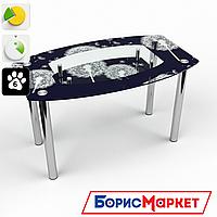 Обеденный стол стеклянный (фотопечать) Бочка с полкой Vento от БЦ-Стол 910х610 *Эко
