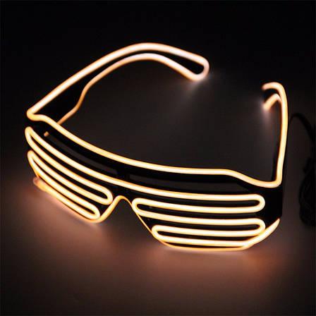 Светодиодные Led El очки светящиеся очки для вечеринок, пати. Желтые, фото 2