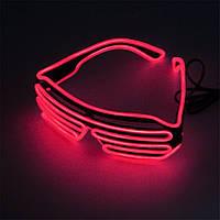 Светодиодные Led El очки светящиеся очки для вечеринок, пати. Красные