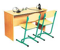 Стол ученический для лингафонного кабинета, двухместный (80371)