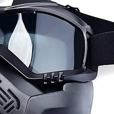 Мотоциклетная маска очки, лыжная маска, для катания на велосипеде или квадроцикле (затемненная), фото 3