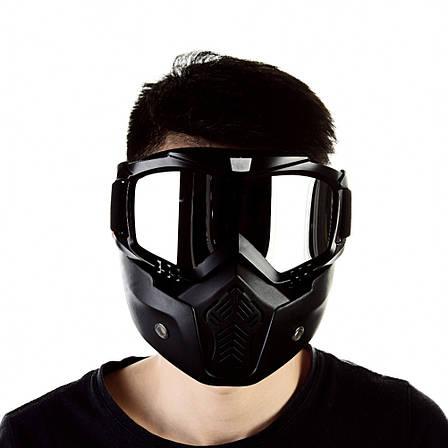 Мотоциклетная маска очки, лыжная маска, для катания на велосипеде или квадроцикле (серебристая), фото 2