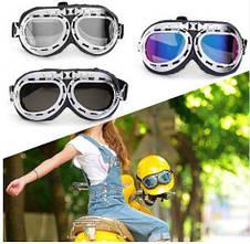 Новые велосипедные, мотоциклетные очки Ретро Винтаж Авиатор защитные Silver, фото 2