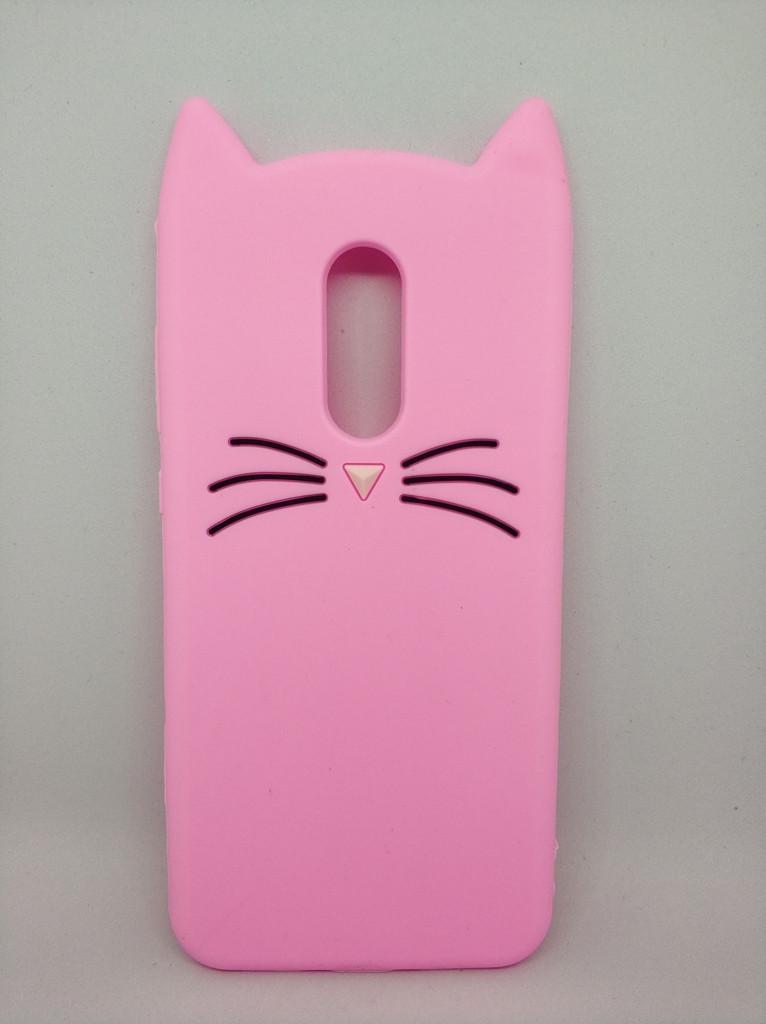 Объемный 3d чехол для Xiaomi Redmi 5 Plus Усатый кот розовый