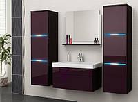 Комплект мебели в ванную комнату LUMIA корпус венге / фасад фиолетовый глянцевый