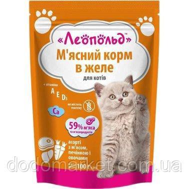 Влажный корм для кошек Леопольд Мясное ассорти с мясом, печенью и овощами в желе 24 шт/100 гр